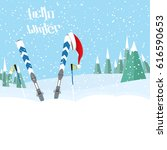 skiing in the forest.ski... | Shutterstock . vector #616590653