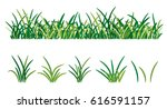 green grass isolated on white... | Shutterstock .eps vector #616591157