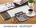 business objects in the office...   Shutterstock . vector #616591607