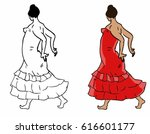 spanish flamenco dancer. vector ... | Shutterstock .eps vector #616601177