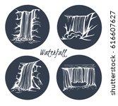vector ser of waterfall | Shutterstock .eps vector #616607627