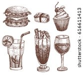 hand drawn food sketch for menu ... | Shutterstock .eps vector #616611413
