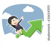 businesswoman riding graph...   Shutterstock . vector #616614593