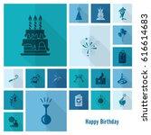 happy birthday icons set.... | Shutterstock .eps vector #616614683