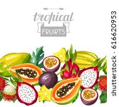 seamless border with exotic... | Shutterstock .eps vector #616620953