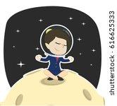 businesswoman doing yoga on moon | Shutterstock .eps vector #616625333