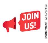 join us. megaphone icon. vector ... | Shutterstock .eps vector #616640513