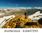 tourist on similaun peak ... | Shutterstock . vector #616647293
