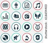 multimedia icons set.... | Shutterstock .eps vector #616654403