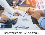 business man is pointing to... | Shutterstock . vector #616659083