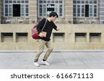 rushing man in hurry for not be ... | Shutterstock . vector #616671113