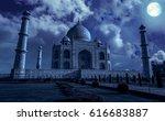 taj mahal agra in moon light... | Shutterstock . vector #616683887