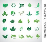 leaf icons set  vector... | Shutterstock .eps vector #616694243
