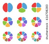 colorful circle segments set.... | Shutterstock .eps vector #616708283