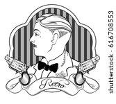 retro men s set  vector vintage ... | Shutterstock .eps vector #616708553