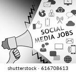 Stock photo social media jobs icons representing online vacancies d illustration 616708613