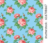 seamless pattern with roses and ... | Shutterstock .eps vector #616708667