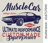 vintage racing car  t shirt... | Shutterstock .eps vector #616717043