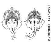head of hindu lord ganesha.... | Shutterstock .eps vector #616719917