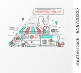 shopping on line graphic...   Shutterstock .eps vector #616720337