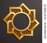 3d round golden infographic... | Shutterstock . vector #616720613