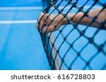 tennis player punch the net... | Shutterstock . vector #616728803