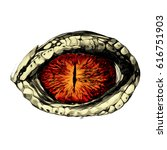 eye of a crocodile or reptile... | Shutterstock .eps vector #616751903
