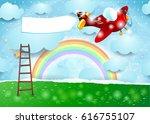 surreal landscape with ladder ...   Shutterstock .eps vector #616755107