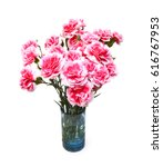 Red Carnations In Vase On White