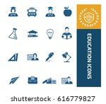 education icon set clean vector | Shutterstock .eps vector #616779827