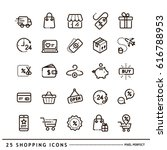 shopping icons line | Shutterstock .eps vector #616788953