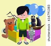 dissatisfied boy against pile... | Shutterstock .eps vector #616791383