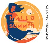 summer holiday and summer camp... | Shutterstock .eps vector #616794497