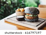 vegetarian burger made with... | Shutterstock . vector #616797197