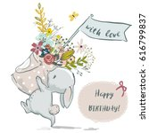 cute little birthday hare with... | Shutterstock .eps vector #616799837