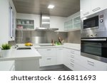 white modern kitchen | Shutterstock . vector #616811693