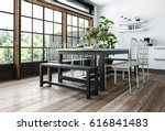 modern dining room in... | Shutterstock . vector #616841483