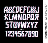 glitch font with distortion... | Shutterstock .eps vector #616842647