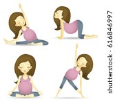 set of 9 yoga poses for...