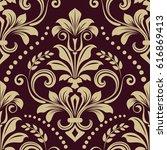 seamless dark purple and beige... | Shutterstock .eps vector #616869413