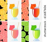 stylized fruit juices and slice ...   Shutterstock .eps vector #61687606