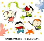 funny kids  10   painting ... | Shutterstock . vector #61687924
