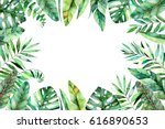 colorful watercolor frame... | Shutterstock . vector #616890653