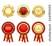 Red Award Rosettes And Gold...