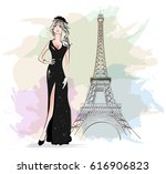 beautiful fashion woman with...   Shutterstock .eps vector #616906823