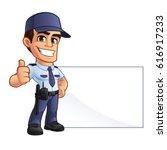 nice security guard  he's...   Shutterstock .eps vector #616917233