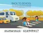 multiracial kids walking across ... | Shutterstock . vector #616949417