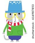cute animal cartoon artwork... | Shutterstock .eps vector #616987853