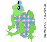 cute frog in blue dress vector... | Shutterstock .eps vector #616992563