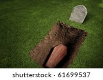 photo of wooden coffin at a... | Shutterstock . vector #61699537